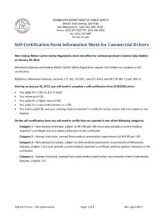 Self-Certification Form Information Sheet for Commercial ...