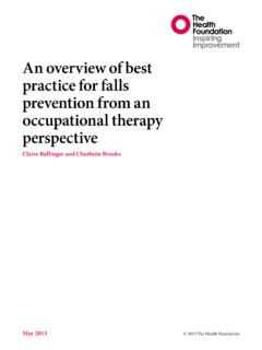 An overview of best practice for falls prevention from an ...