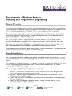Fundamentals of Business Analysis including BCS ...