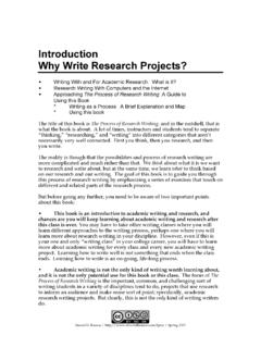 Introduction Why Write Research Projects?