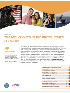 August 2015 TRICARE CHOICES IN THE UNITED STATES