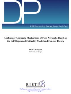 Analyses of Aggregate Fluctuations of Firm Networks Based ...