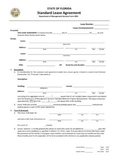 STATE OF FLORIDA Standard Lease Agreement