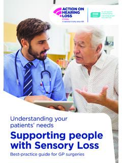 Understanding your patients' needs Supporting people with ...