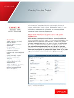 ORACLE DATA SHEET Oracle iSupplier Portal