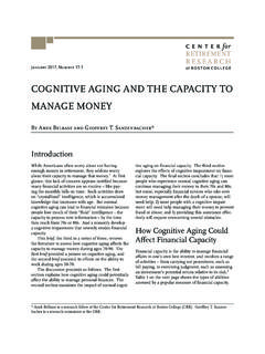 COGNITIVE AGING AND THE CAPACITY TO MANAGE …