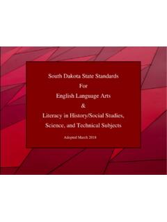 South Dakota State Standards For English Language Arts ...