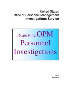 Requesting OPM Personnel Investigations