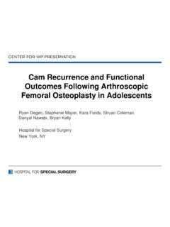 Cam Recurrence and Functional Outcomes Following ...