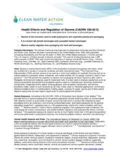 Health Effects and Regulation of Styrene (CASRN 100-42-5)
