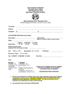 Dog Licensing Form /Renewal Form - Egg Harbor …