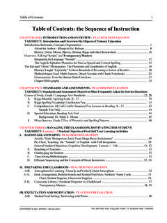 Table of Contents: the Sequence of Instruction - …