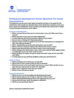 Professional Development Starter Questions for …