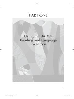 Using the BAdER Reading and Language Inventory