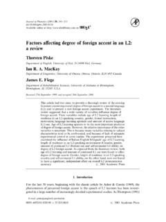 Factors affecting degree of foreign accent in an L2: a review