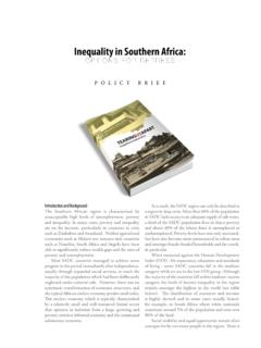 Inequality in Southern Africa