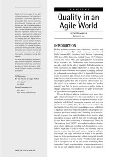 TALKING POINTS Quality in an Agile World - …