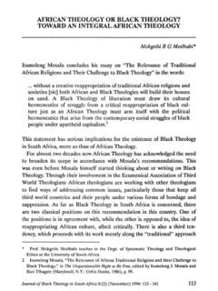AFRICAN THEOLOGY OR BLACK THEOLOGY? TOWARD AN …