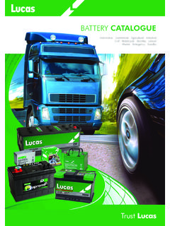 BATTERY CATALOGUE - Lucas Electrical | Automotive ...