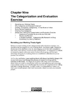 Chapter Nine The Categorization and Evaluation …