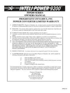 PD9200 SERIES OWNERS MANUAL PROGRESSIVE …