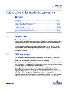 Technical Note: Guided Wave Radar Interface Measurement