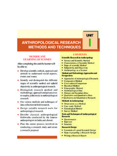 UNIT ANTHROPOLOGICAL RESEARCH I METHODS AND …