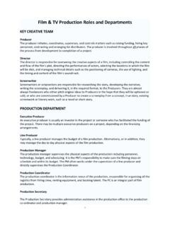 Film & TV Production Roles and Departments