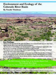 Environment and Ecology of the Colorado River Basin