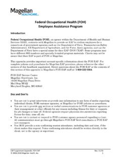 Federal Occupational Health (FOH) Employee Assistance …