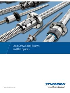 Lead Screws, Ball Screws and Ball Splines - …
