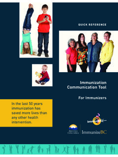 Immunization Communication Tool - BC Centre for Disease ...