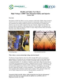 Health and Safety Fact Sheet: High Voltage (>1000 Volts ...