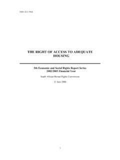 THE RIGHT OF ACCESS TO ADEQUATE HOUSING - SAHRC