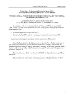 EPA NPDES Vessel General Permit for Discharges …