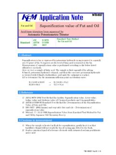Fat and Oil Saponification value of Fat and Oil