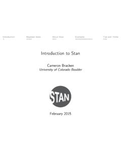 Introduction to Stan - University of Colorado Boulder