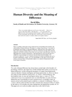 Human Diversity and the Meaning of Difference