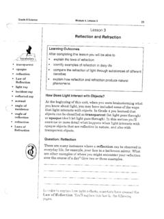Question: Reflection Refraction opaque objects that are ...