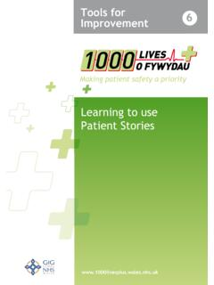 Learning to Use Patient Stories - 1000 Lives Plus
