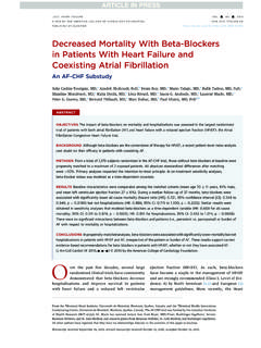 Decreased Mortality With Beta-Blockers in Patients With ...