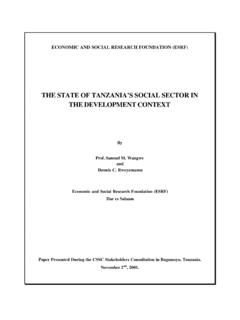 THE STATE OF TANZANIA'S SOCIAL SECTOR IN …