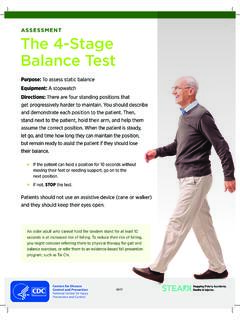 ASSESSMENT The 4-Stage Balance Test
