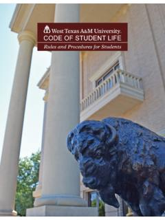 CODE OF STUDENT LIFE - West Texas A&M University