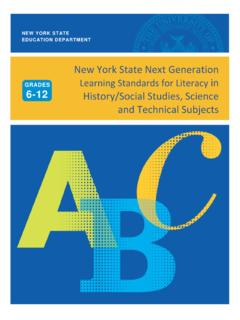 New York State Next Generation Learning Standards for ...