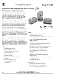 SDU Series, Direct Current Uninterruptible Power …