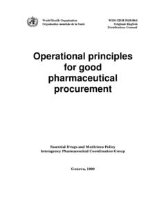 Operational principles for good pharmaceutical procurement