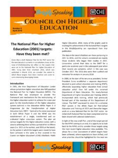 The National Plan for Higher Education (2001) targets ...