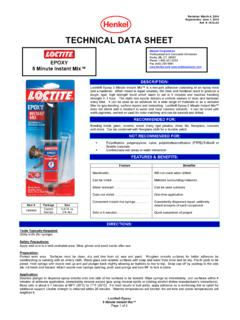 TECHNICAL DATA SHEET - Loctite Products