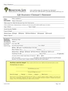 Life Insurance Claimant's Statement